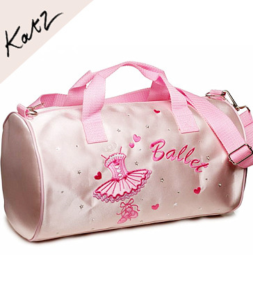 [Katz] Girls Pink Satin Ballet Barrel Bag